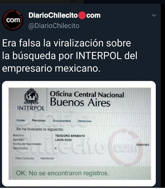 Diario Chilecito Falso que Teodoro Ernesto Lavin Sodi Tenga Antecedentes